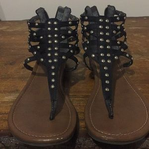Mossimo Oldella Black Studded Gladiator Sandals